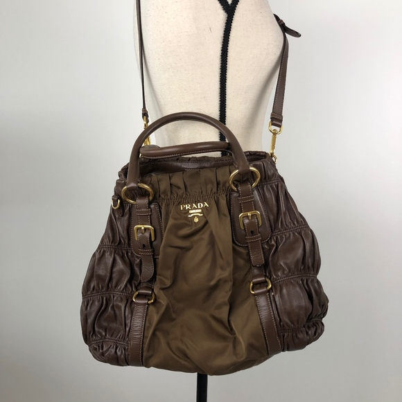 Prada Bags   Nappa Gaufre Canvas And Leather Brown Bag   Poshmark 850fba7a41